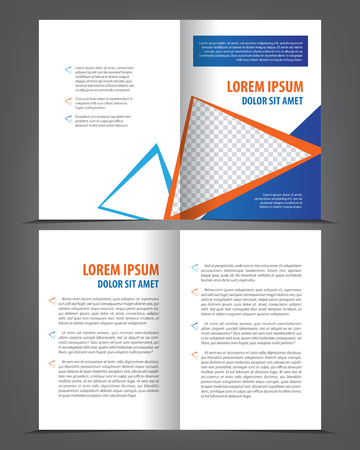 booklet design: Vector empty bi-fold brochure print template design, geometric newsletter booklet layout
