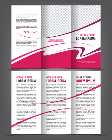 Vector empty trifold brochure print template design, tri-fold bright booklet or flayer