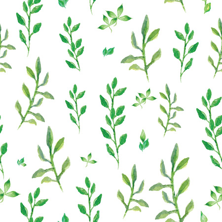 sprigs: Watercolor vector seamless pattern with small green sprigs, bright leaves aquarelle background Illustration