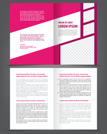 bifold: Vector empty bifold brochure print template design with violet pink elements Illustration