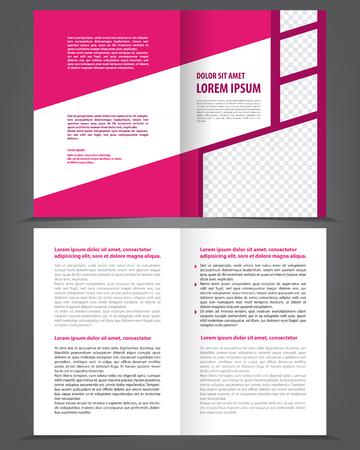 magazine design: Vector empty bifold brochure print template design with violet pink elements Illustration