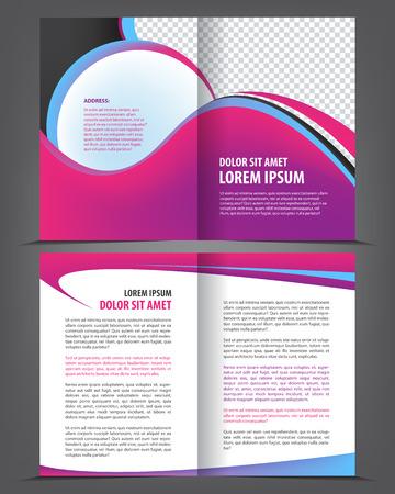 bifold: Vector empty bifold brochure print template design with violet pink elements Illustration