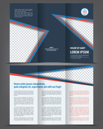 vector background: Vector empty trifold brochure print template dark design