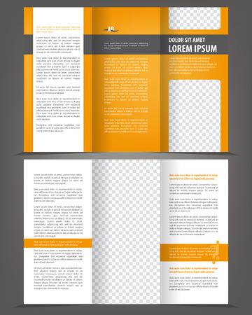 Diseño del vector vacío plantilla de impresión tríptico con elementos de color naranja Foto de archivo - 46661060