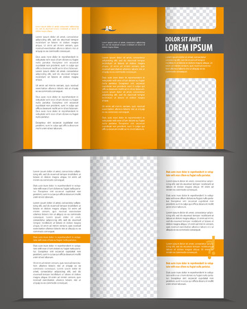 Vector empty trifold brochure print template design with orange elements Çizim