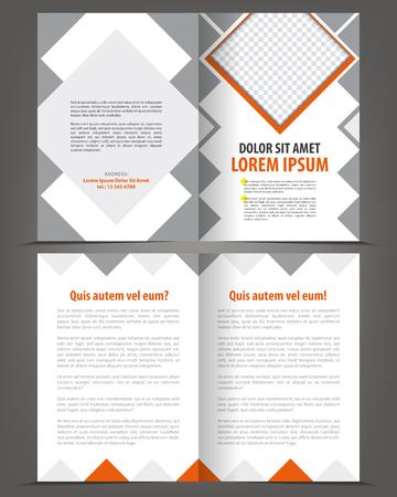 Vector empty bi-fold brochure print template design with orange and gray elements Illustration