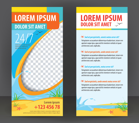 Tourist vector flat sided flyer with sea and sand, brochure design for Travel Company Çizim
