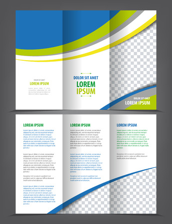 Vector empty trifold brochure print template blue design