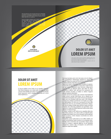 bifold: Vector empty bi-fold brochure print template design with yellow elements