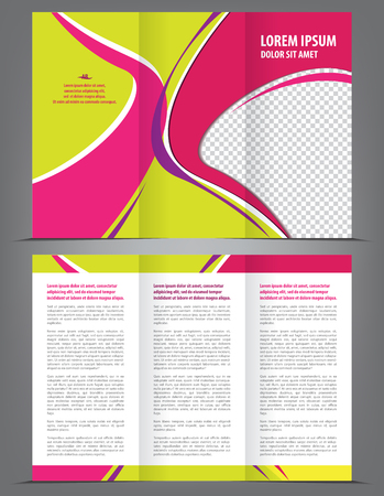 print template: Vector trifold pink brochure print template design Illustration