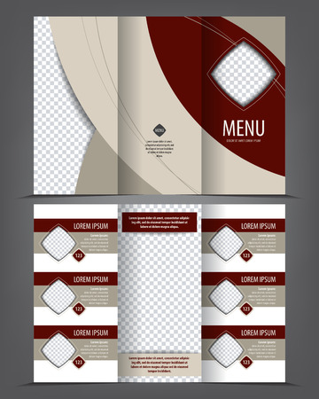 wine background: Vector tri-fold menu print template design, empty layout restaurant carte, bistro bill of fare Illustration