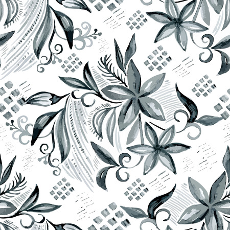 vector fabric: Vector watercolor seamless gray blossom pattern, floral spring branch ornament, fashion print for fabric, small watercolor pencil drawing flowers