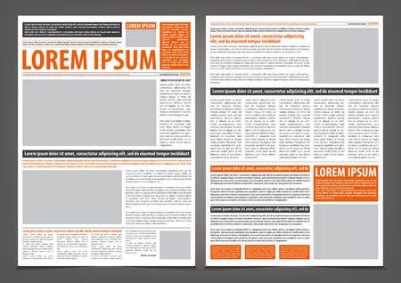 Vector empty newspaper print template design with orange and black elements