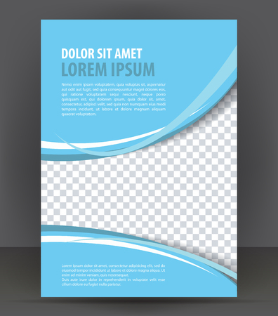 Magazine, flyer, brochure, booklet, cover layout design print template, light blue vector Illustration