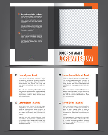 print template: Empty bifold brochure print template orange design, vector background Illustration