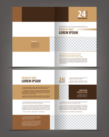 bifold: Empty bifold brochure print template design layout, vector background