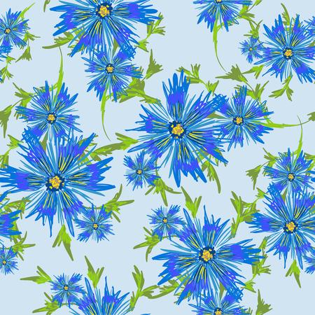 azure: Vector seamless floral background Illustration