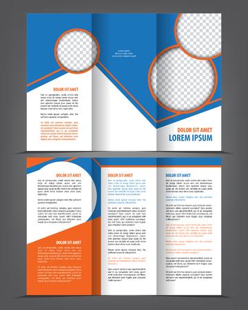 spread sheet: Vector empty trifold brochure template blue design