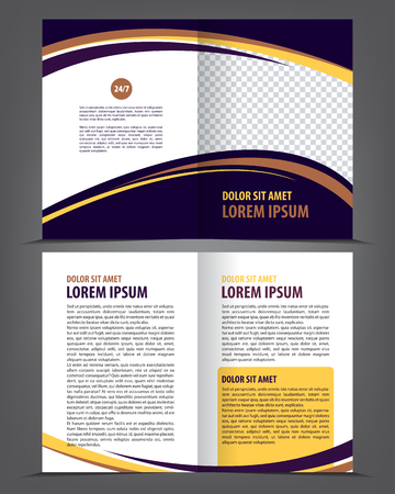 book pages: Vector empty bi-fold brochure print template design with blue and violet elements