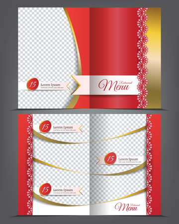 carte: Vector empty bifold brochure template menu design, restaurant golden red carte with lace Illustration