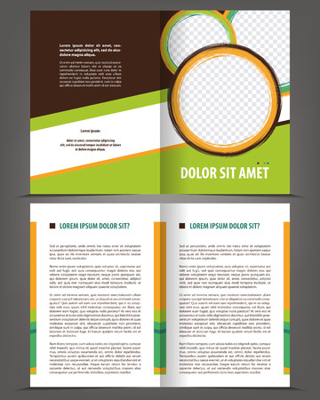 Vector empty bi-fold brochure print template design with brown and green elements Çizim