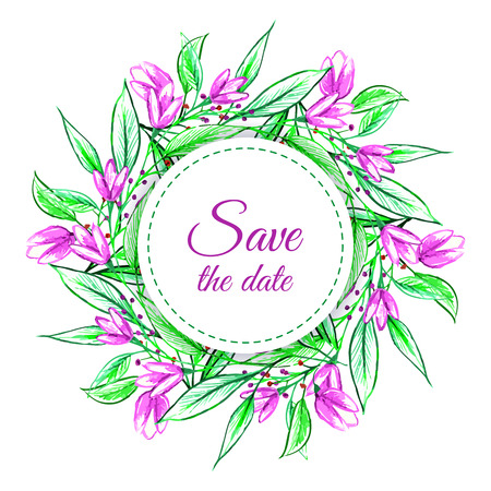 Pencil drawing vector wreath with green branches leaves and flowers invite, save the date card invitation