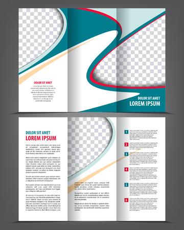 blue design: Vector empty trifold brochure print template blue design