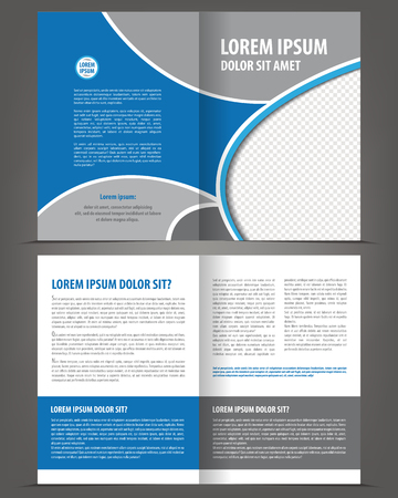 bifold: Vector empty bi-fold brochure print template design with blue and gray elements