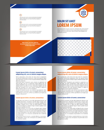 book pages: Vector empty bifold brochure template design with blue and orange elements