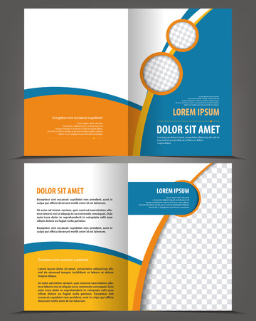 design template: Vector empty bifold brochure print template blue design