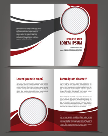 bifold: Vector empty bi-fold brochure print template design with red and black elements Illustration