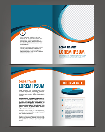 Vector empty bifold brochure design print template Çizim