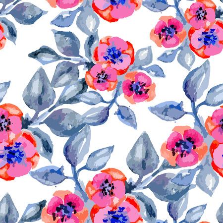 petites fleurs: vecteur Aquarelle seamless avec de petites fleurs, lumineux, floral, fond sans fin, aquarelle impression de la mode pour le tissu