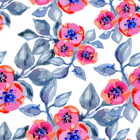aquarel: Watercolor vector seamless pattern with small flowers, bright floral aquarelle endless background, fashion print for fabric Illustration