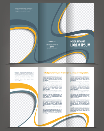 Vector empty trifold brochure design print template Illustration