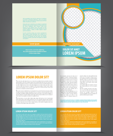 page layout: Vector empty bi-fold brochure template design with blue and orange elements Illustration