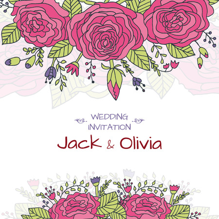 wedding invitation vintage: Vector wedding invitation card with vintage baroque rococo roses, ornate floral background. Save the date ornament