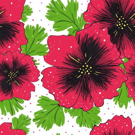 romantically: Seamless pattern with decorative poppy flowers on white background