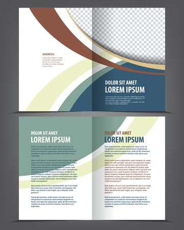 Vector empty brochure print template design with green elements