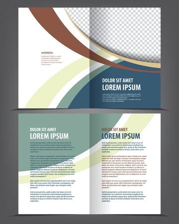 Vector lege brochure afdruksjabloon ontwerp met groene elementen Stock Illustratie