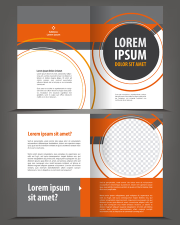 Vector empty bifold brochure template design with orange and gray elements Çizim