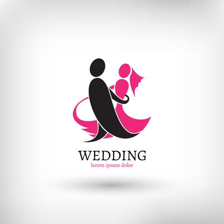Vector wedding logo design template, marriage couple ceremony symbol Çizim
