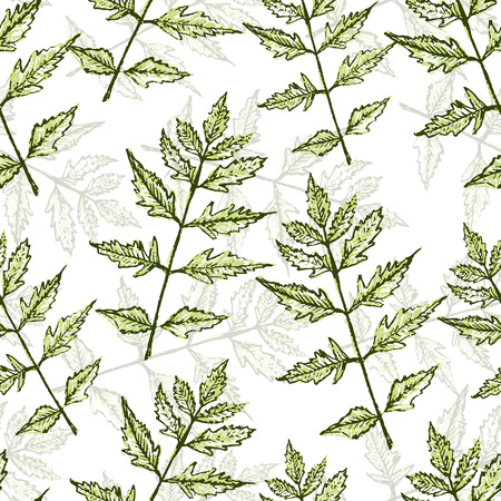 aquarelle: Watercolor vector seamless pattern with green branches, bright leaves aquarelle background, hand drawn pencil illustration
