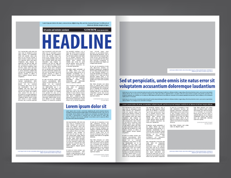 Vector empty newspaper print template design layout with blue and black elements