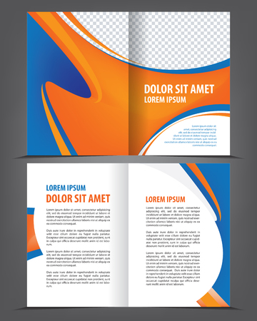 print template: Vector empty bi-fold brochure design print template Illustration