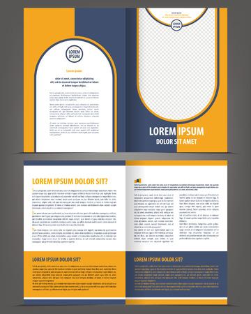 blue design: Vector empty brochure print template design with orange and dark blue elements