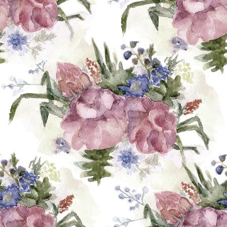 petites fleurs: Vector aquarelle vintage seamless background floral grunge, bouquet de roses et de petites fleurs, vieux modèle tacheté aquarelle