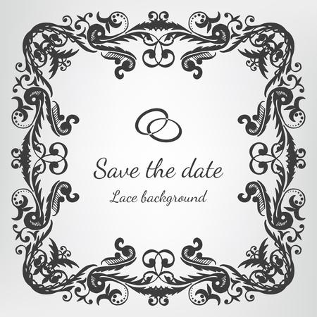 verschnörkelt: Vector Hochzeitseinladungskarte mit Vintage-Barock Rokoko Spitze, reich verzierten Hintergrund. Speichern Sie das Datum schwarze Verzierung Illustration