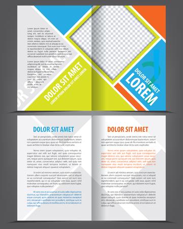 Vector empty multicolored bi-fold brochure template design