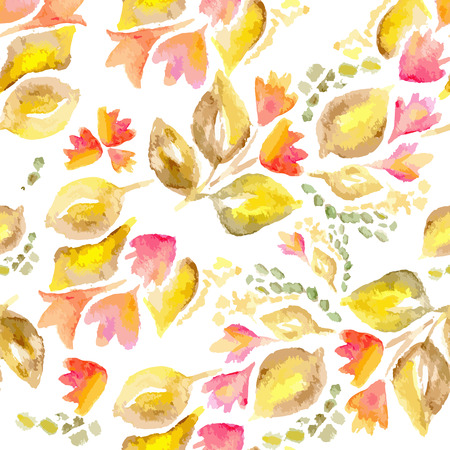 bloomy: Vector watercolor seamless bright blossom pattern, floral spring branch ornament, fashion print for fabric, small watercolor pencil drawing flowers
